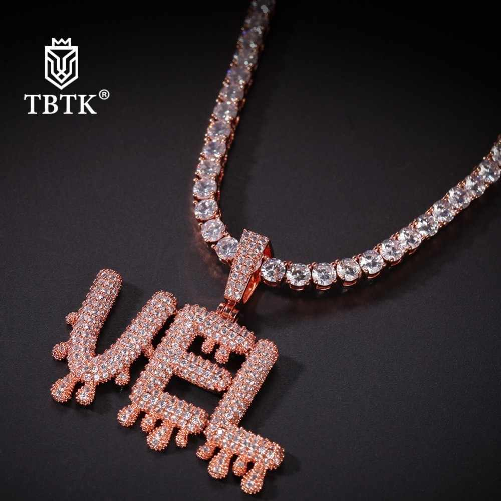 TBTK Sale Rose Gold 4mm CZ Tennis Chain Water Drip Small Letter Custom Pendant Iced Out for Man Luxury Jewlery Copper Necklace