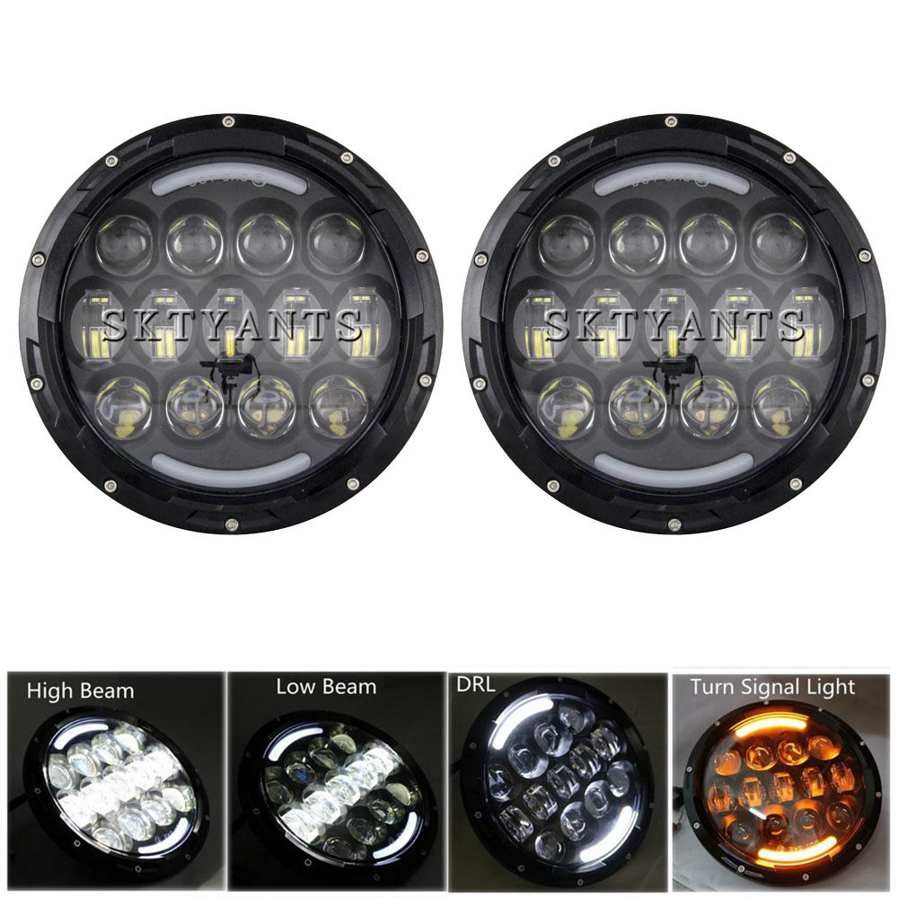 105W 7 Inch Round LED Headlight White amber Turn Signal DRL High Low Beam for JE
