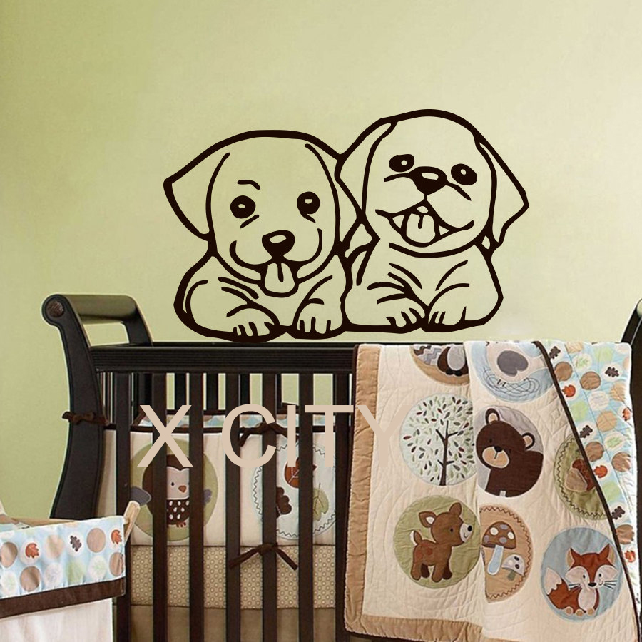 Wall Decals Adorable Dog Baby Children Vinyl Sticker Boy