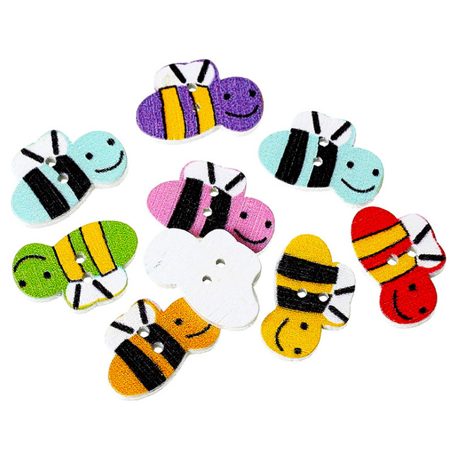 100pcs/Lot Multicolor Bee Pattern Wooden Buttons 2 Holes Button Baby ...