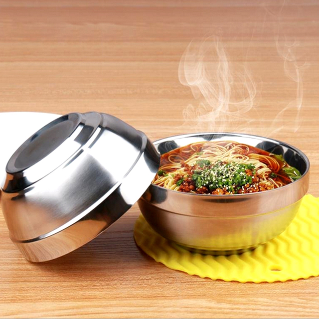 Aliexpresscom Buy 1PCS Rice Bowls Double Layer Stainless Steel