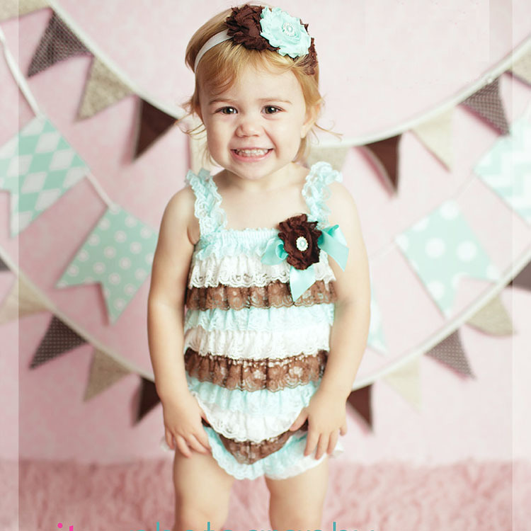 Petti Bayi Gadis Baju Monyet Renda Warna Blok Musim Panas Dusty Gading Rose  Lace Romper dengan Straps Lengan Gratis Pengiriman 11 Warna Dalam Stok bfde5ab464