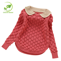 Kids New Fashion Knit Cashmere Sweater Winter Girl Clothes Doll Collar Thread Hook Flower Children Wool