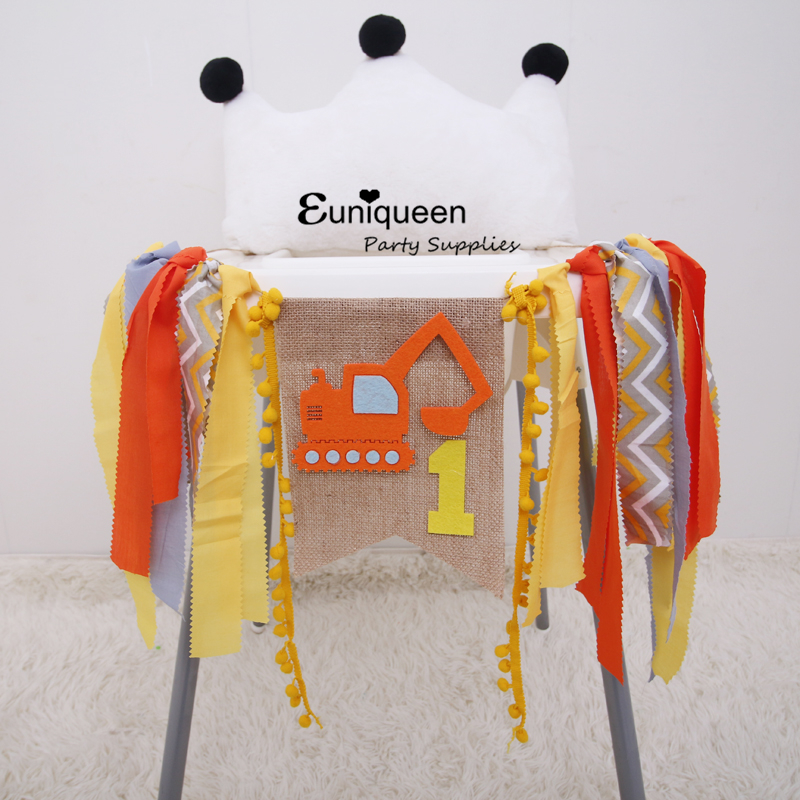 7.7US $  Car Theme High Chair Decoration Excavator Kids Party Banners Yellow Orange Construction veh...