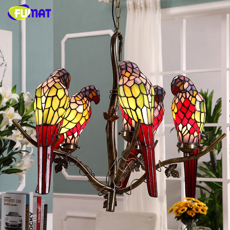 FUMAT Parrot Pendant Lights Garden Tiffany Creative Stained Glass Lamp For Living Room European Bar Parrot Birds Pendant Lights fumat stained glass pendant lamps european style glass lamp for living room dining room baroque glass art pendant lights led