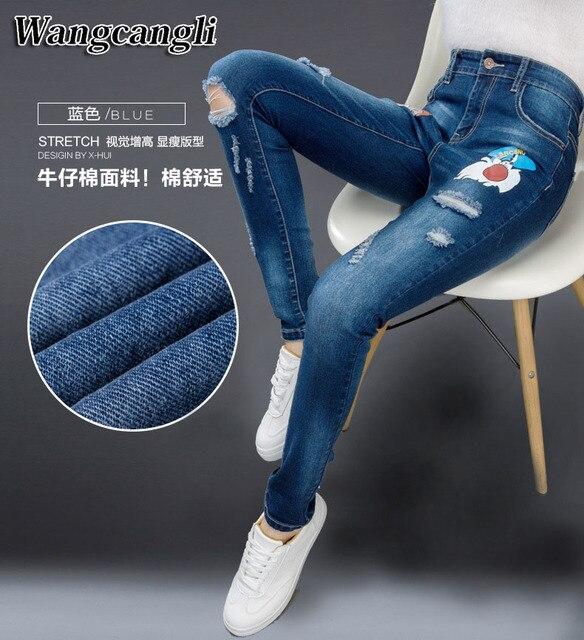 Novo 2016 Hot Moda Feminina Cotton Denim Calças Stretch Das Mulheres calças  de Brim do Denim 2d372754670