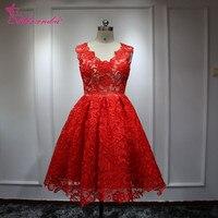 ภาพถ่ายจริงสีแดงสั้นลูกไม้ชุดแต่งงานคอVแขนหมวกชุดแต่งงานชายหาดชุดแต่งงานvestido de n oiva