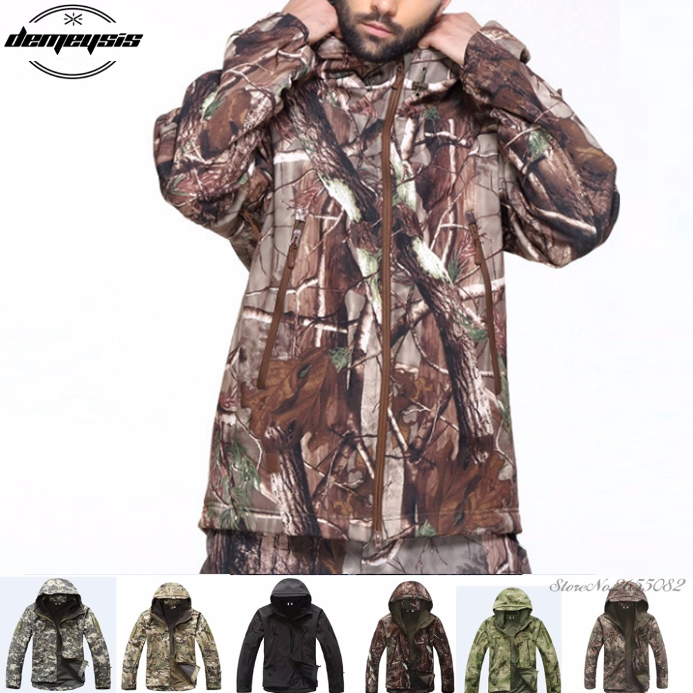 Men Shark Skin Soft Shell Outdoor Tactical Military Jackets Water-resistant Sports Army Clothing Jacket hunting jackets waterproof camouflage hoodie men s army military outdoor soft shell tactical jacket military camo army clothing