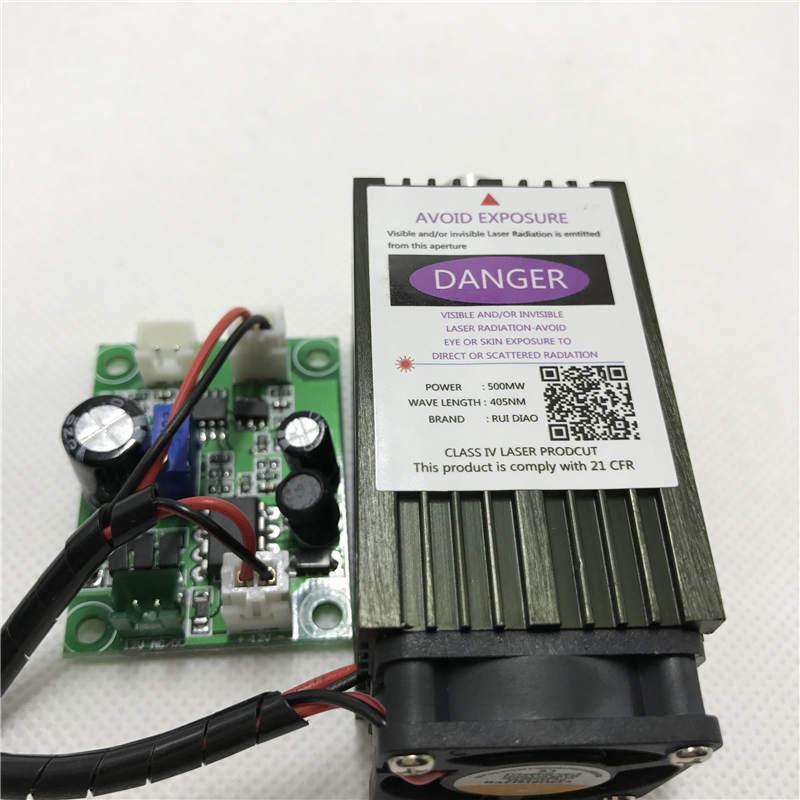 Free shipping DIY 500mw 405NM focusing blue purple laser module engraving with TTL control laser tube