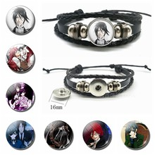 Black Butler Bracelet Anime Cosplay Jewelry Men Punk Black Leather Bracelet Kuroshitsuji Ciel Phantomhive Sebastian Anime Lovers(China)