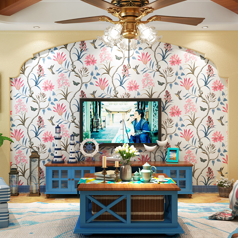 American style wallpaper Idyllic birds and flowers Bedroom living room sticker TV background porch non-woven fabric wallpaper