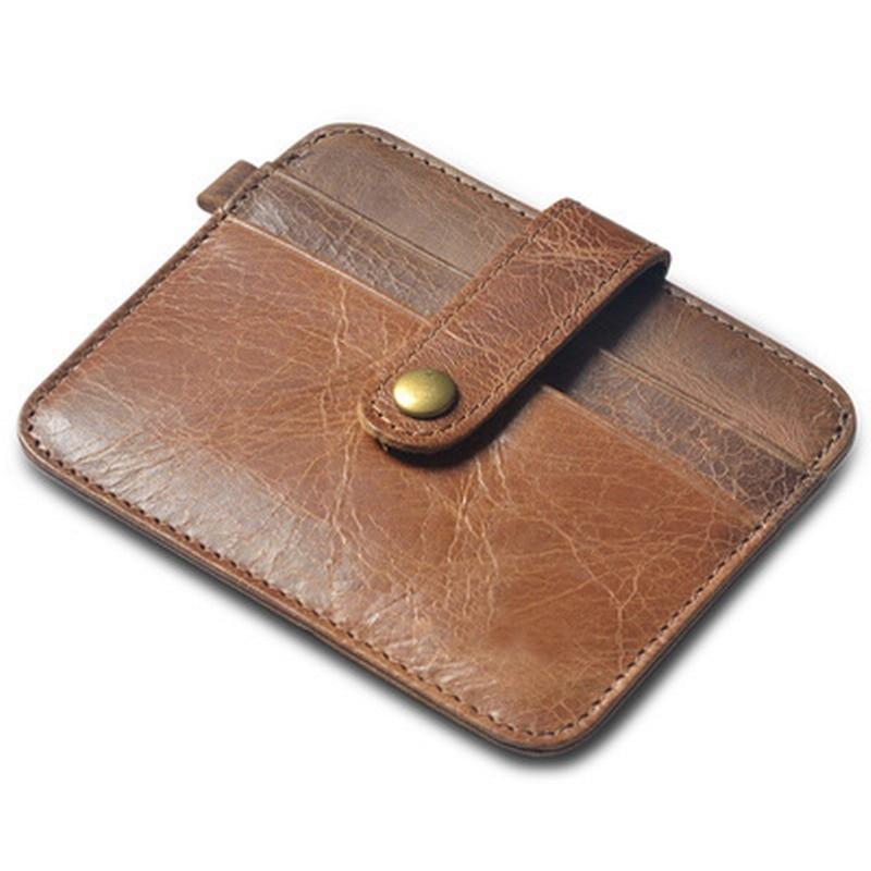 Gibo Auja - Dárková kazeta s originální koženou kazetou Vintage Cow Dárková karta s organizérem pro kreditní karty Slim Magic Wallet Pánská peněženka Pekařský olejový vosk