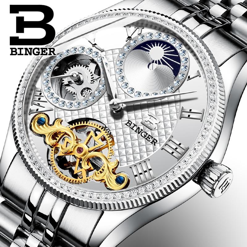 Moon Phase Automatic Wristwatches BINGER Men Mechanical Watch Tourbillon Clock  relogio masculino Luxury Rhinestones waterproof цена и фото