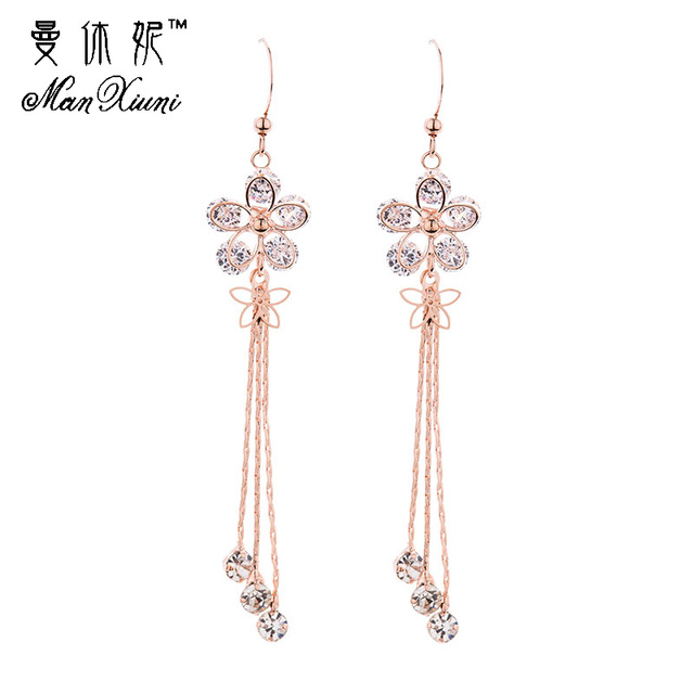 2018 Dangle Sun Flower Rose Gold Colored Rhinestone Tassel Drop