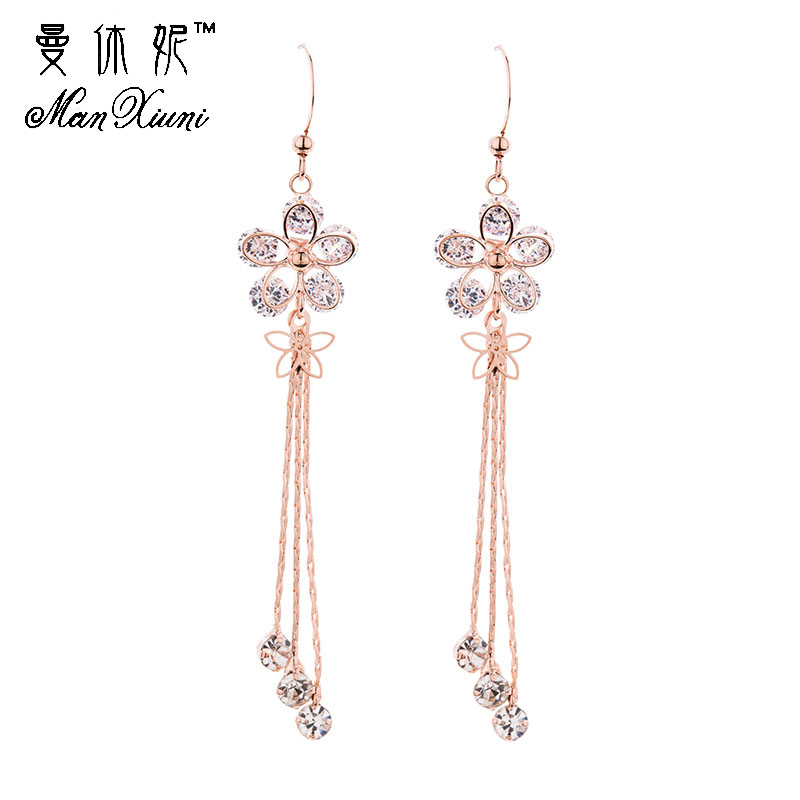 2018 Dangle Sun Flower Rose Gold Colored Rhinestone Tassel Drop Earrings Fashion Jewelry Long Crystal Earrings For Women