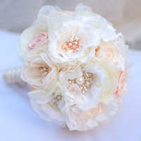 Bride holding flowers, New arrival Romantic Wedding silk flower Bride 's Bouquet,Ivory Coral and Gold bridal bouquets