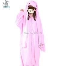 60ade4af15ee HKSNG High Quality Animal Adult Pink Violent Rabbit Pajamas Cute Bunny  Rabbit Long Ears Kigurumi Onesies
