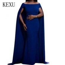 KEXU Women Sexy Slash Neck Bodycon Pencil Dress Slim-fit Cloak Long Elegant Summer Party Night Club Plus Size S-XXL
