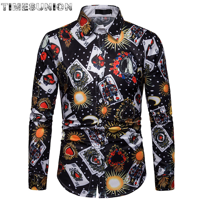 Playing Cards Print Shirt Men Brand New Smooth Silk Cotton Mens Dress Shirts Casual Slim Fit Long Sleeve Chemise Homme Camisa