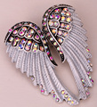 Angel wings brooch pin pendant women biker jewelry gift W crystal wholesale dropshipping BD03 antique gold & silver plated