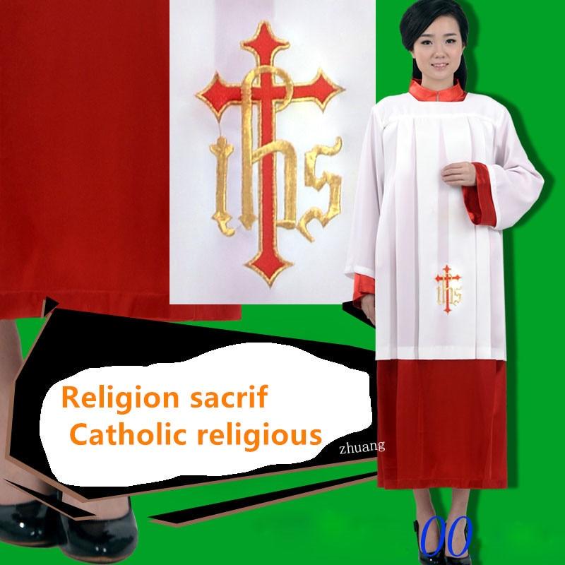 Bata ritual de alta calidad de la iglesia del Vaticano Estándar Europeo para ceremonia de adoración Sacrificio de bata de la iglesia católica