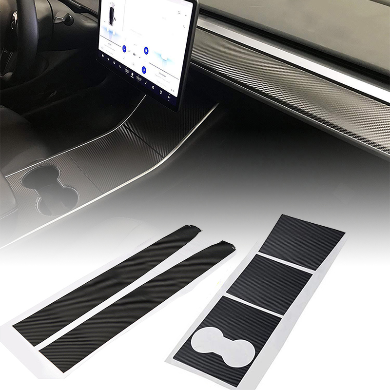 Image 3 - For Tesla Model 3 Car Inner Dashboard Wrap Kit Stickers  Carbon Fiber Vinyl Wrap-in Automotive Interior Stickers from Automobiles & Motorcycles