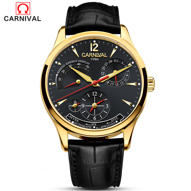 купить CARNIVAL Automatic Watch Men Calendar Waterproof Luminous Mechanical watches Original Fashion Men Watch Top brand Multifunction онлайн