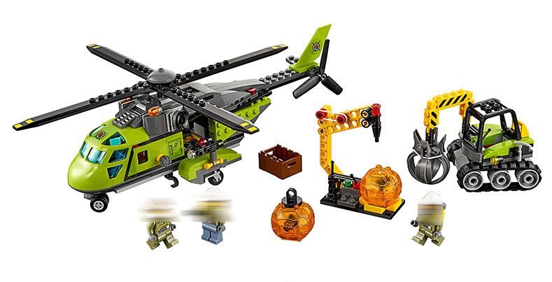 Bela 10640 City Volcano Supply Helicopter Geological Prospecting Building Block Bricks 60123 Compatible gift kid city Volcano a toy a dream 10641 city series volcano exploration base geological prospecting building block bricks toys gift for children