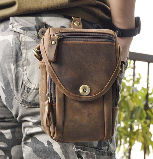 Vintage fashion Bag Crazy Pack Fanny Horse Genuine Leather Waist Crossbody Men