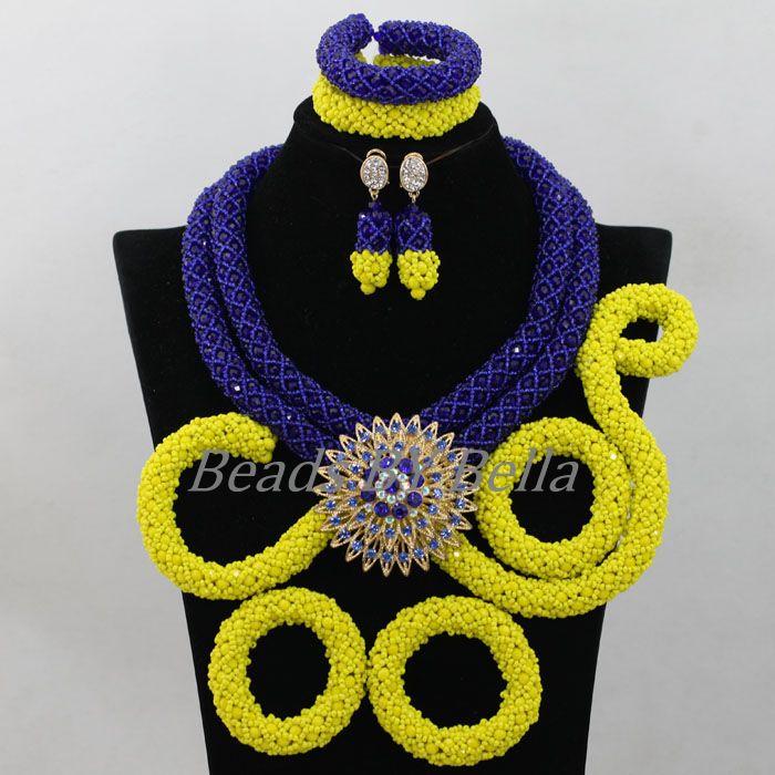 Королевский синий/желтый кристалл ручной кос свадебные туфли в африканском стиле Бусины Наборы свадебных ювелирных изделий в нигерийском