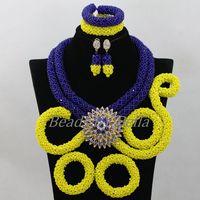 Королевский синий/желтый кристалл ручной работы оплетка Африканские свадебные Бусы Свадебные комплекты ювелирных изделий нигерийский ком