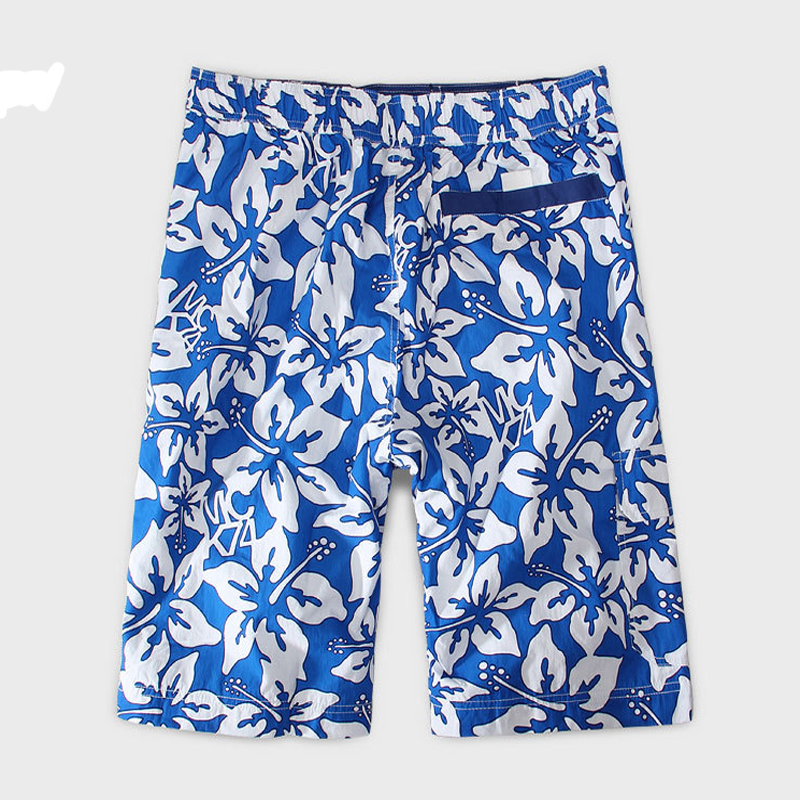 Casual Size M-XL Men's Beach Shorts Blue and white porcelain Cotton