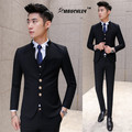2017 Hombres 3 Unid/set Slim Fit Novio Trajes de Boda Elegante chino Collar de Baile Trajes Con Pantalones Smoking Traje Homme Negro rojo