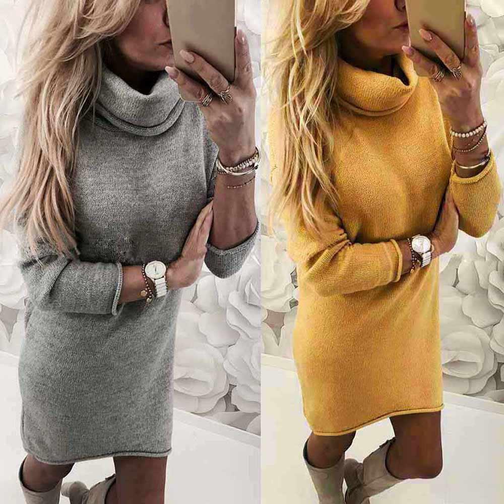 Fashion Vrouwen Solid Trui Lange Casual Lange Mouwen Pullove Jurk meisje jurk vrouwen winter