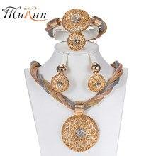 359973b9bdd3 MUKUN moda bisutería Nigeria mujeres grandes anillos collar pulsera  pendientes moda joyería 2018 Dubai joyas de oro