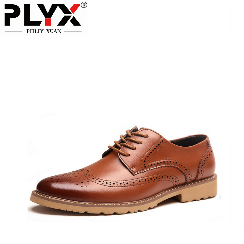 PHLIY XUAN New 2018 Hot British Style Men Casual Genuine Leather Shoes Spring/Autumn Breathable Mens Brogue Shoes Mocassin Homme mens women golf shoes genuine leather shoes british style waterproof breathable free shipping