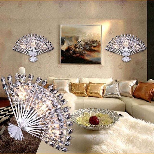 Funky Wall Lights >> Laimaik Funky Fan Shaped Crystal Stainless Steel Led Lamp Led Light Wall Lamp Wall Light Wall Sconce For Bar Store Foyer Bedroom In Led Indoor Wall
