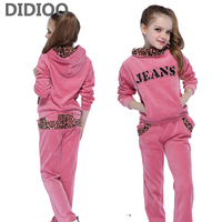 School Girls Clothing Sets Leopard Velvet Sports Suits For Girls Hoodies Pants Casual Kids Outfits Brand