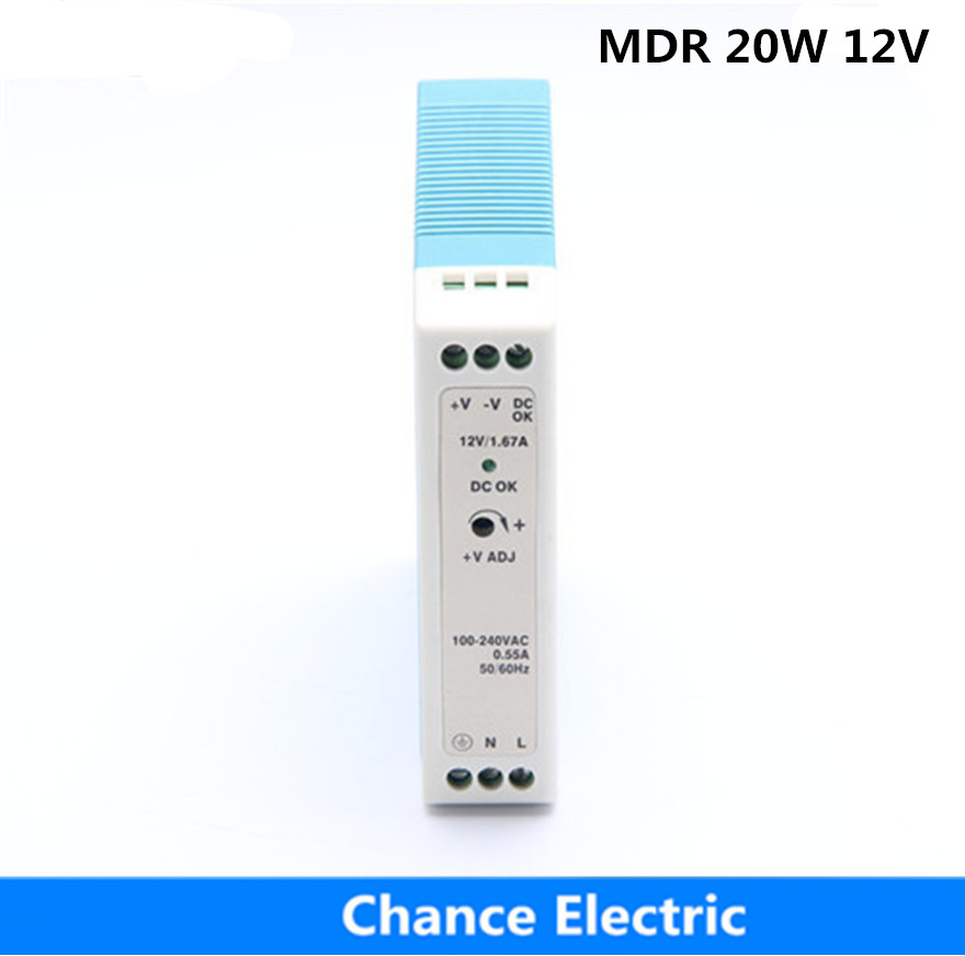 DIN Rail 20w MDR 20W 12V  Direct Selling  MDR20W-12V  Industry Switching Mode Power Supply low price direct sale din rail smps mdr 60 12 mdr series 12v 5a 60w ce switching power supply for led strip light lamp