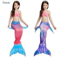 Tonlinker Princess kids baby girls mermaid tails summer swimsuit clothingchildren 3ps swimming bikini beath suits Swimwear
