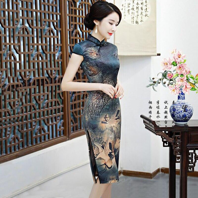 New Arrival Chinese Women s Knee Leng Cheongsam Fashion Short Style Qipao Summer Rayon Dress Vestidos