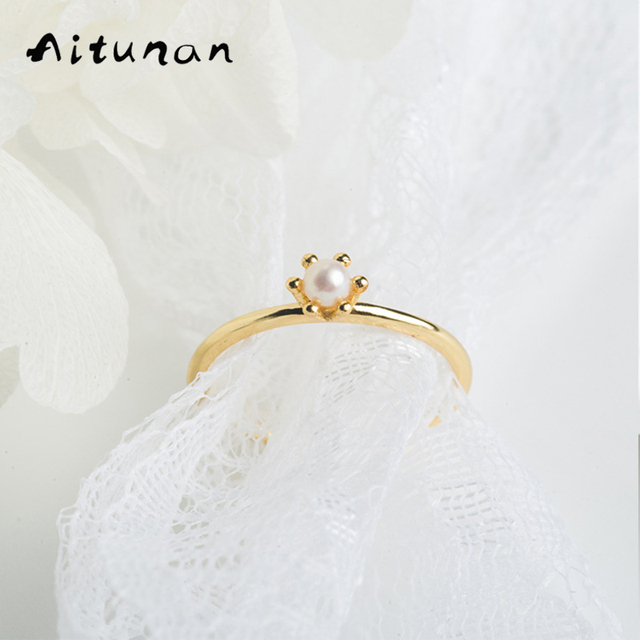Aitunan Japanese Light Luxury Mini Natural Freshwater Pearl Crown Ring Small Thin Rings 925 Silver