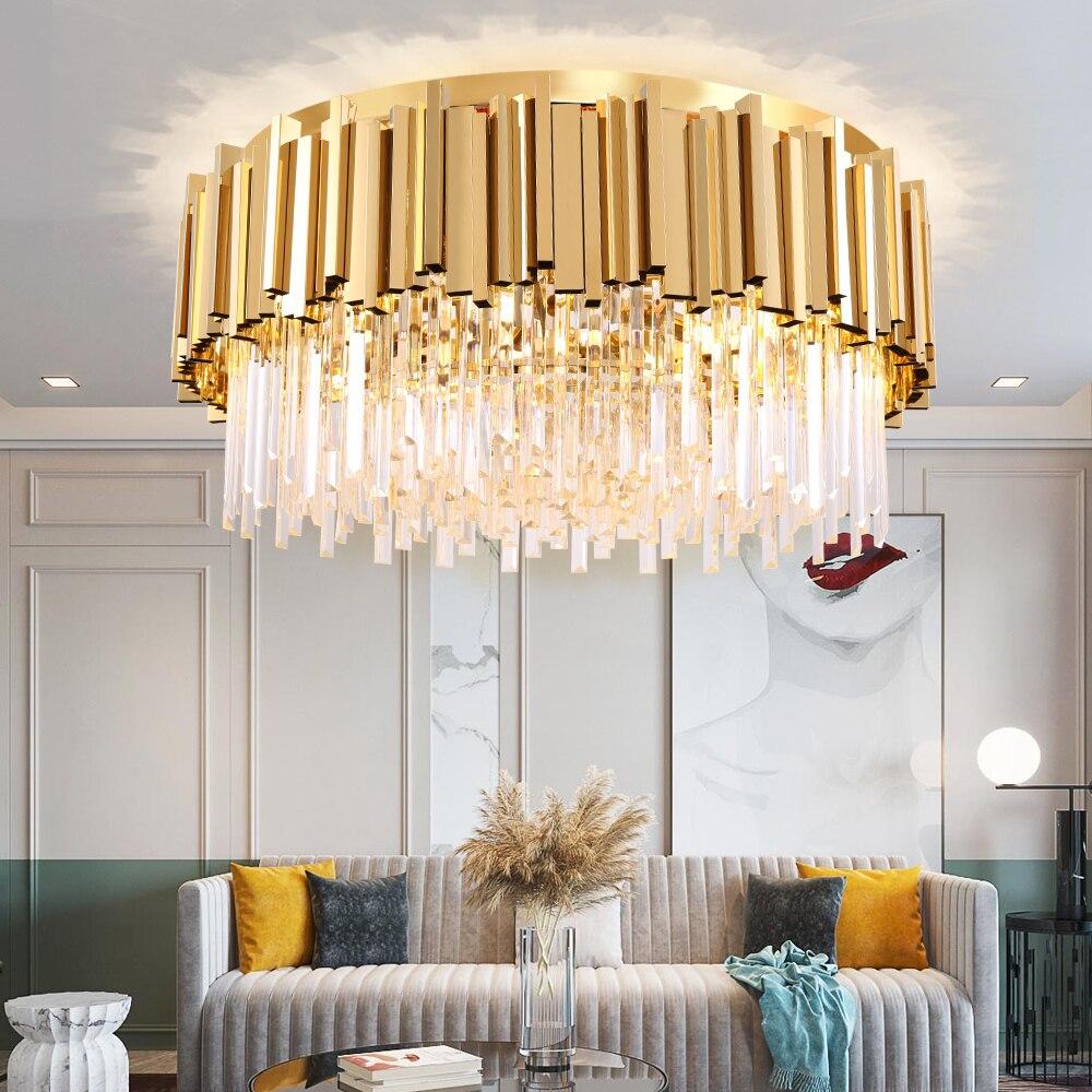 Round Gold Crystal Chandelier For Ceiling Luxury Modern Bedroom LED Lustres De Cristal