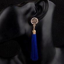 Sindlan Earrings Fashion Party Wedding Jewelry Women Charm Crystal Rose Five-pointed Star Vintage Cotton Tassel Dangle Earrings