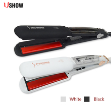 USHOW Infrared Steam Hair Straightener Professional Ceramic Ionic Straightening Iron Vapor Plate Flat Irons цена и фото