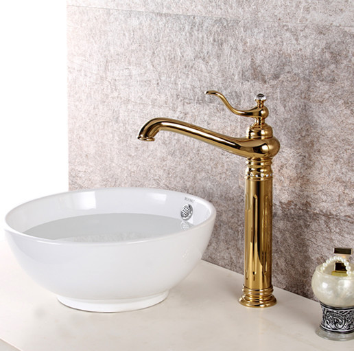 Free Ship GOLD Single Hole Bathroom Lavatory Vessel Sink Crystal Faucet  Mixer Tap New