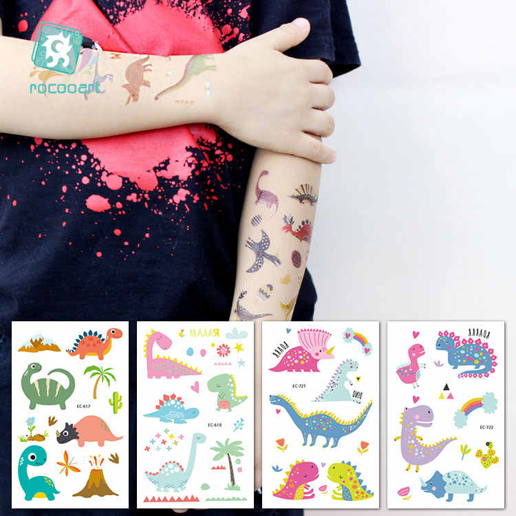 Rocooart, pegatinas de Tatuajes de dinosaurios, regalo de cumpleaños para niños, Tatuajes falsos para niños, arte corporal a prueba de agua, tatuaje temporal