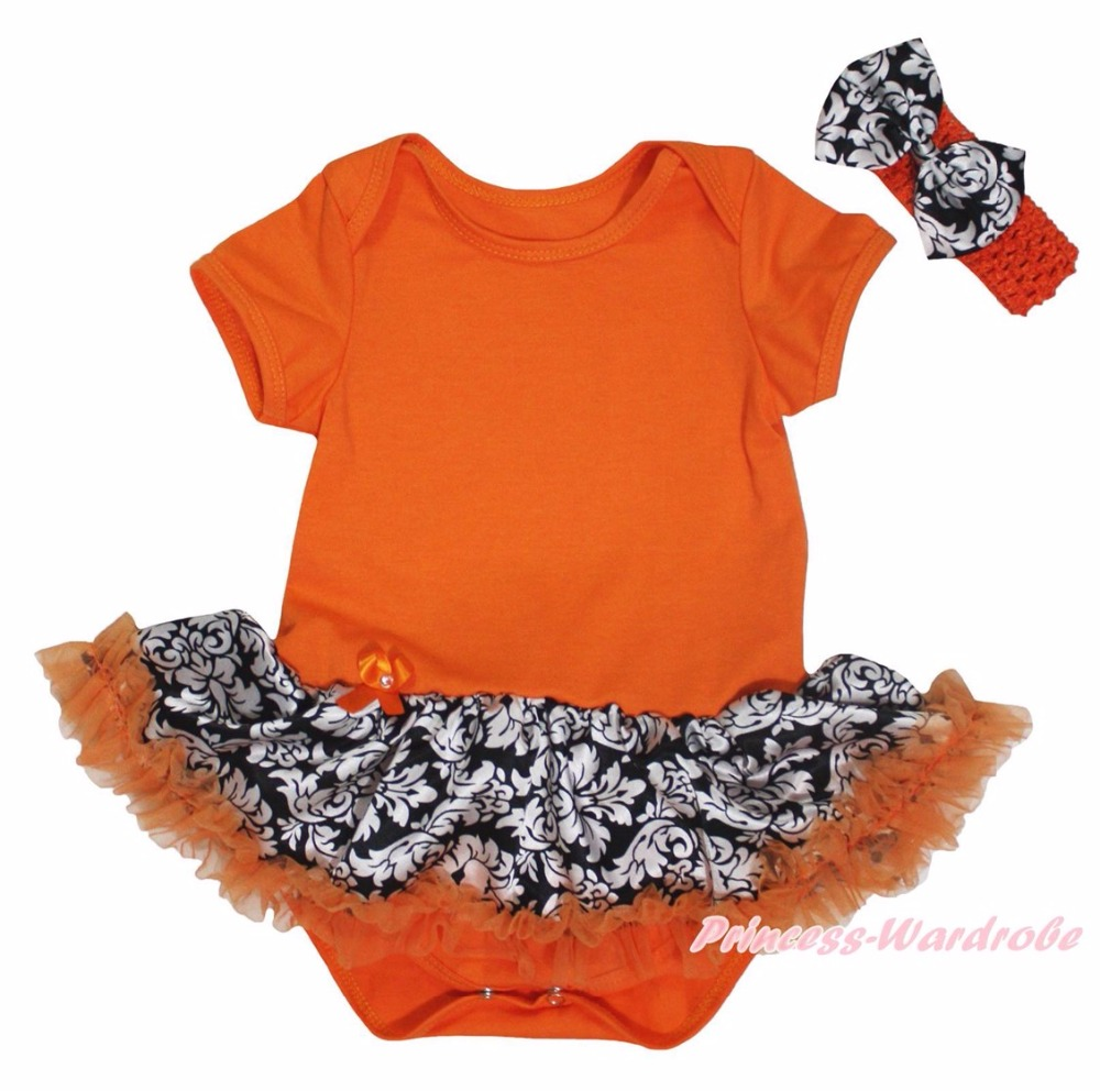 Happy Halloween Pumpkin Face Tree Cobweb Thanksgiving Turkey Orange Bodysuit Damask Tutu Set Nb-18m