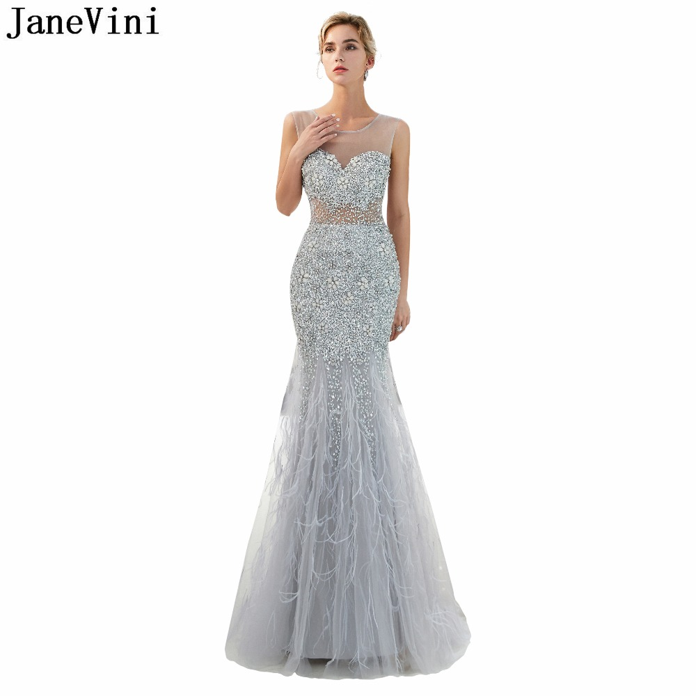 JaneVini Luxury Long   Bridesmaid     Dresses   with Feathers Scoop Neck Tulle Beaded Crystal Backless Elegant Mermaid Prom Party Gowns
