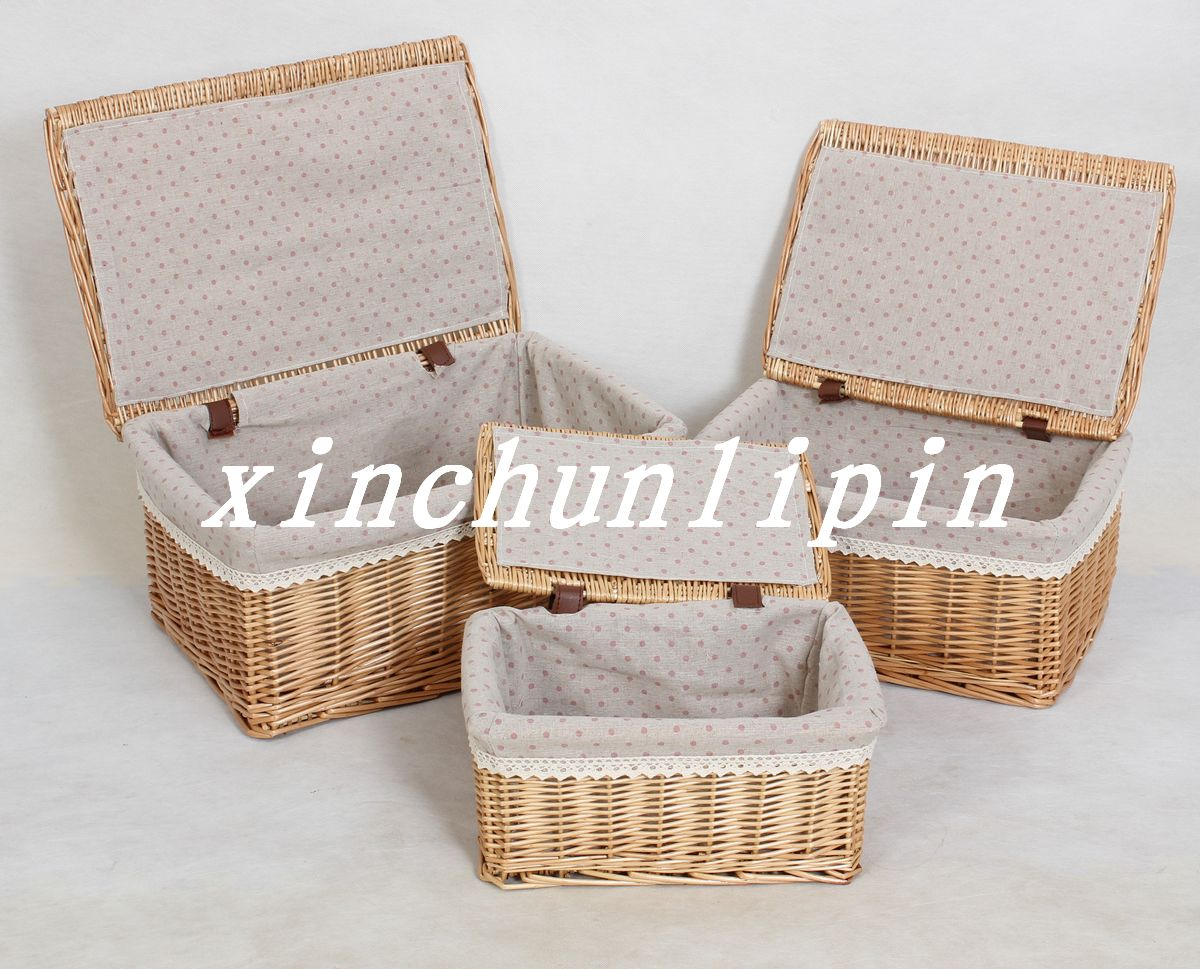 2016 promotion caixa organizadora willow storage basket with lid large rustic baskets box. Black Bedroom Furniture Sets. Home Design Ideas